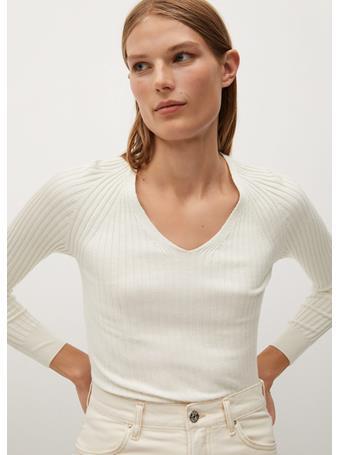 MANGO - Goleta Striped Rib Sweater NATURAL-WHITE