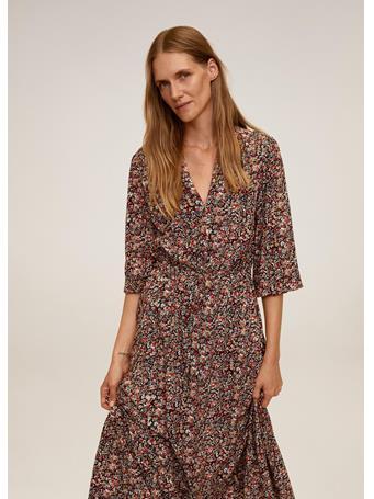 MANGO - Floral Print Dress BRIGHT RED
