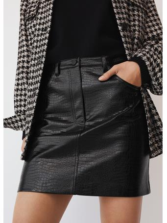 MANGO - Croco Skirt BLACK