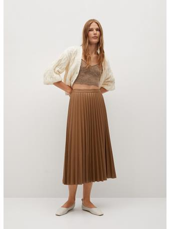 MANGO - Ona Faux-Leather Pleated Skirt MEDIUM-BROWN