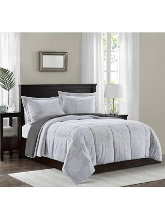 MAISON LUXE - Avalon Faux Fur Comforter Set GREY