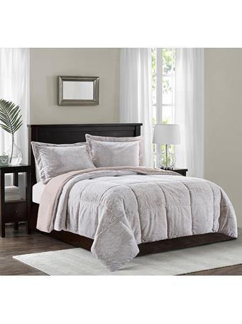 MAISON LUXE - Avalon Faux Fur Comforter Set TAUPE