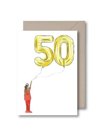 KITSCH NOIR - Fifty Balloon Birthday Card {#color}