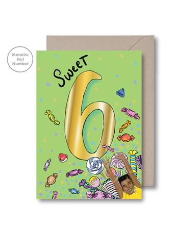 KITSCH NOIR - Green Sixth Birthday Card {#color}