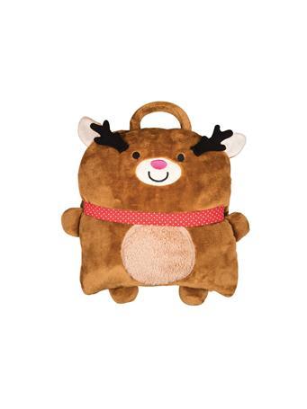 C&F - Reindeer Pillow Blanket BROWN