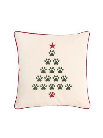 C&F - Christmas Tree Paws Decorative Pillow WHITE