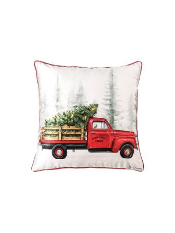 C&F - Holiday Truck LED Decorative Pillow WHITE
