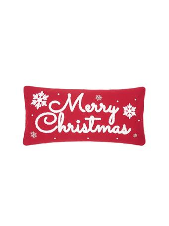 C&F - Merry Christmas Tufted Decorative Pillow RED