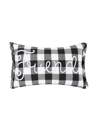 "C&F - ""Friend"" Buffalo Check Decorative Pillow WHITE"
