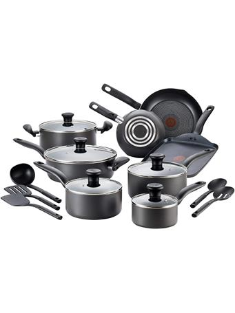 T-FAL - Initiatives Nonstick Inside and Out, 18-Piece BLACK