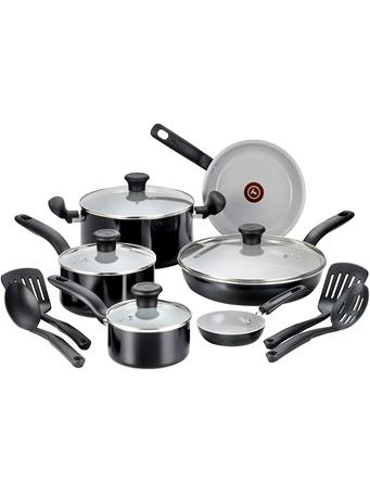 T-FAL - Initiatives Ceramic Nonstick Dishwasher Safe Toxic Free 14-Piece Cookware Set BLACK