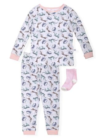 SLEEP ON IT - Fitted Cat Safari Print Pajamas (2T-4T) With Socks NOVELTY