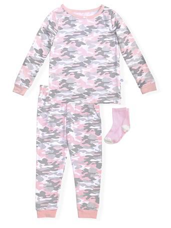 SLEEP ON IT - Camo Print Fitted Pajamas With Socks (12M-24M) NOVELTY