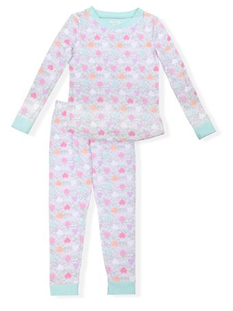 SLEEP ON IT - Fitted Heart Print Pajamas (7-14) GREY