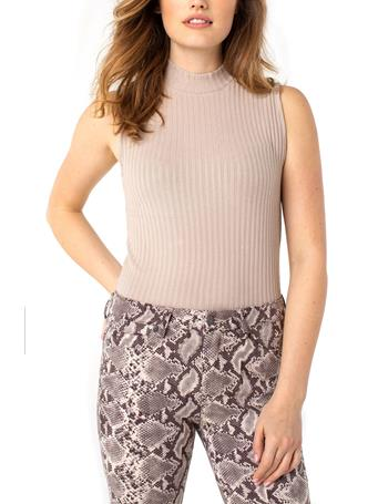 LIVERPOOL JEANS - Mock Neck Sleeveless Knit Top TAUPE