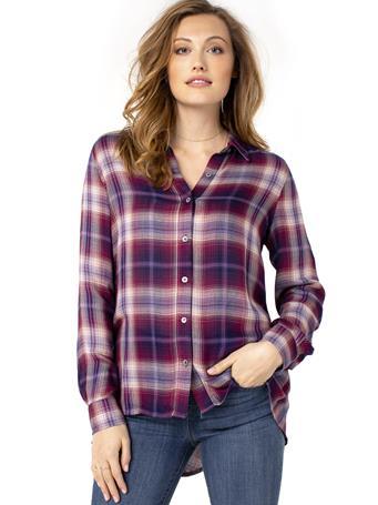 LIVERPOOL JEANS - Oversized Button Back Plaid Shirt MULIT-COL-PLAID