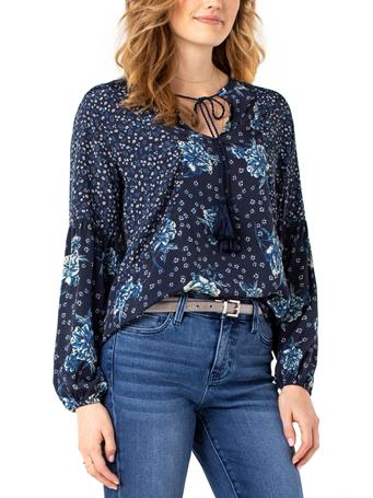 LIVERPOOL JEANS - Print Blocked Tie Front Shirred Blouse DITZY-FLORAL-MIX