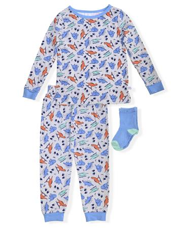 SLEEP ON IT - Fitted Dino Print Pajamas With Socks (2T-5T) NOVELTY