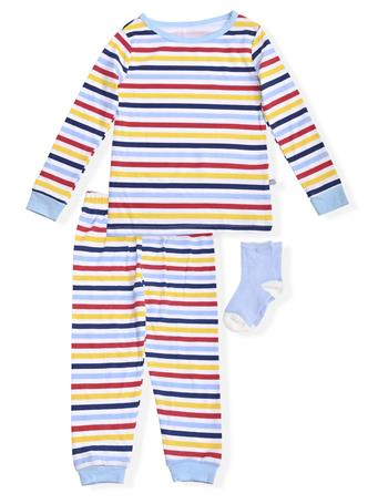 SLEEP ON IT - Fitted Stripe Pajamas With Socks (2T-4T) NOVELTY