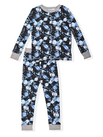 SLEEP ON IT - Fitted Space Print Pajamas (4-12) NAVY