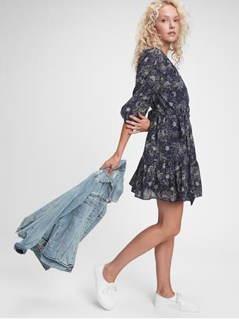 GAP - Three-Quarter Sleeve Flounce Mini Dress NAVY FLORAL