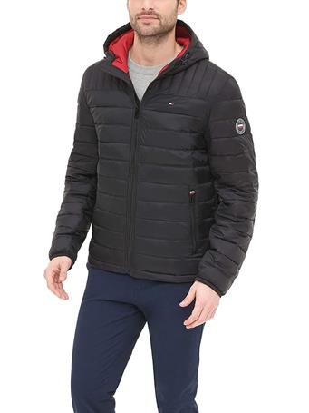 TOMMY HILFIGER - Hooded Packable Puffer Jacket BLACK
