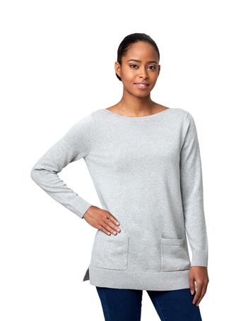 JEANNE PIERRE - Fine Gauge Tunic with Pockets SILVER-GREY-HEATHER