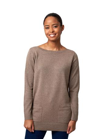 JEANNE PIERRE - Fine Gauge Tunic with Pockets TAUPE-HEATHER