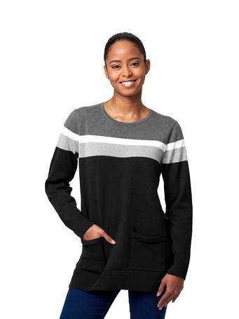 JEANNE PIERRE - Fine Gauge Tunic Sweater With Placement Stripes BLACK-COMBO
