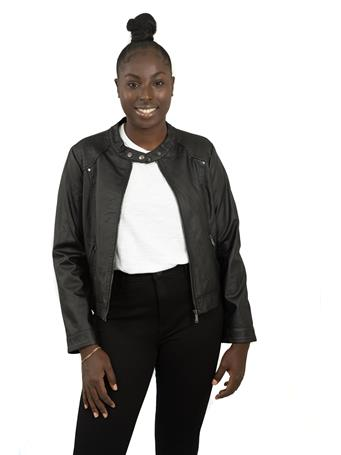 DELIA'S - Vegan Leather Jacket with Shoulder Detail BLACK