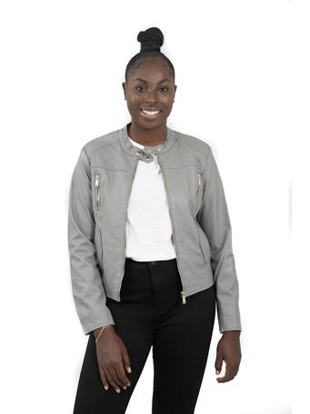 DELIA's - Vegan Leather Jacket with Quilting Vertical Pockets GREY