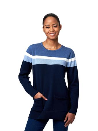 JEANNE PIERRE - Fine Gauge Tunic Sweater With Placement Stripes BLUE-COMBO
