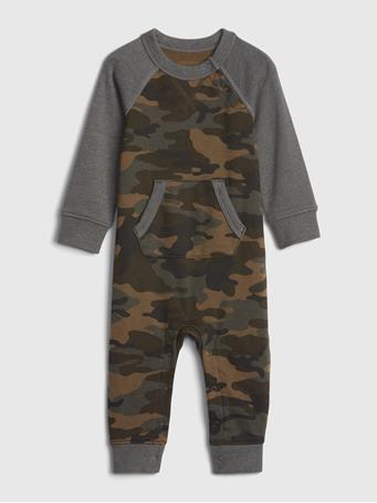 GAP - Baby Footless Camo One-Piece OLIVE-BROWN
