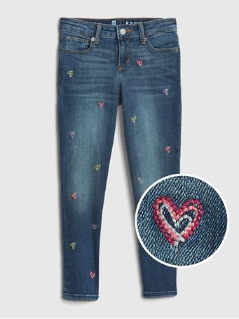 GAP - Kids Super Skinny Ankle Jeans with Stretch  HEARTS
