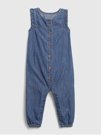 GAP - Baby Ruffle Denim One-Piece DENIM