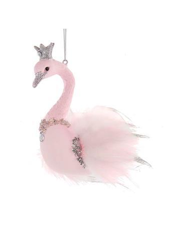 KURT ADLER - Glass Pink Swan Ornament PINK