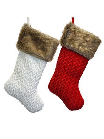 KURT ADLER - Red Velvet Stocking RED