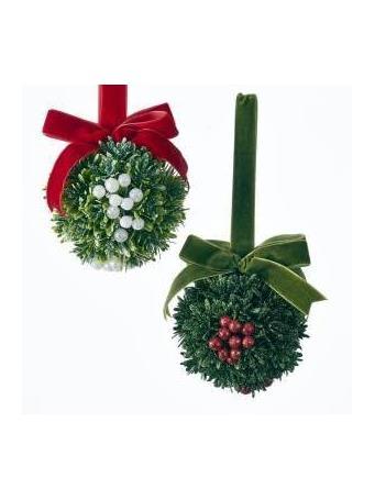 KURT ADLER - Christmas Kisses Mistletoe Ball Ornament ASSORTED