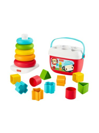 FISHER-PRICE - Baby?s First Blocks & Rock-a-Stack, Plant-Based Toys (6M+) NO-COLOR