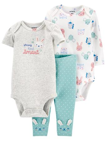 CARTER'S - 3 Piece Little Bunny Character Set AQUA