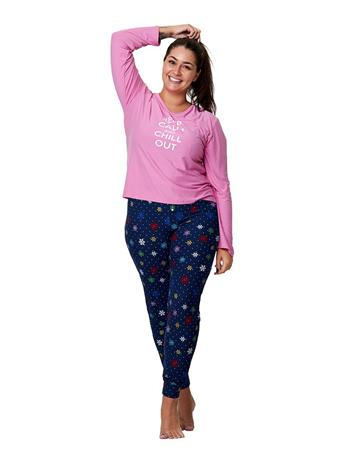 LIGHTS OFF - Keep Calm and Chill Out 2 Piece PJ Set - PLUS PINK