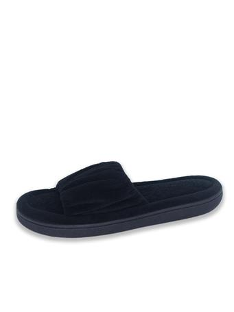 ISOTONER - Microterry Ruched Slide BLACK
