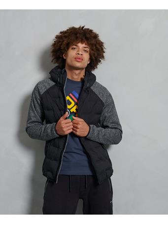 SUPERDRY - Sonic Hybrid Zip-Through Jacket  SONIC-BLACK-GRIT