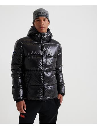SUPERDRY - High Shine Padded Jacket  BLACK-SNOW-HEATHER