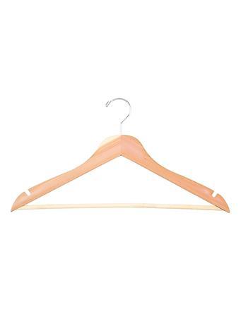 STORAGE ESSENTIALS - Wood Pant Hanger with Bar - 5 Piece Set - Natural NATURAL