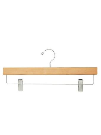 STORAGE ESSENTIALS - Natural Wood Skirt Hanger with Clips - 3 Piece Set NATURAL