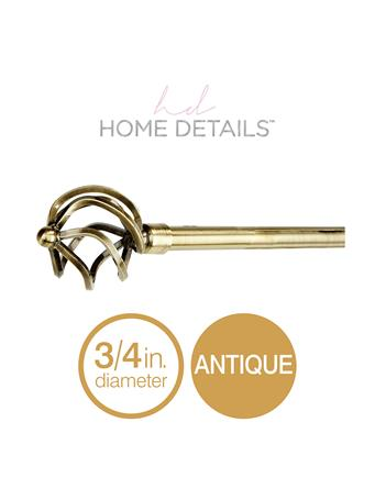 "HOME DETAILS - 3/4"" Royal Twist Decorative Adjustable Curtain Rod - Antique Gold ANTIQUE GOLD"