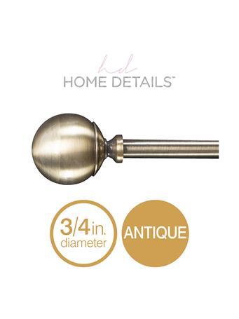 "HOME DETAILS - 3/4"" Solid Knob Decorative Adjustable Curtain Rod - Antique Gold ANTIQUE GOLD"