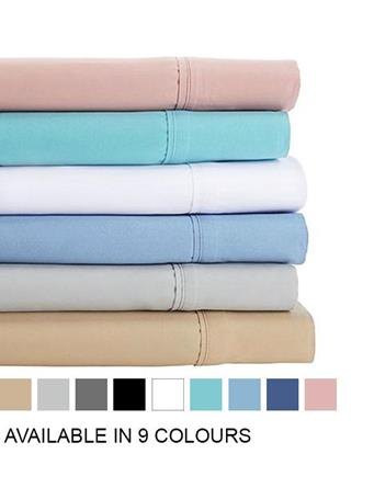 TOWN HOUSE - Microfiber Solid Sheet Set With Pillow Cases ANGEL-BLUE