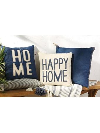 MUD PIE - Home & Happy Home Decorative Cushions - Assorted Styles DENIM